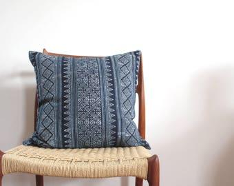 Indigo Batik, Hmong, Hill Tribe, Jungalow, Boho, Pillow Cover