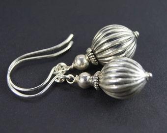 Handmade Sterling Silver Pumpkin Earrings E 053