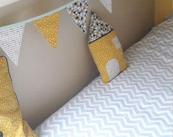 Garland of flags, yellow, blue child room decoration