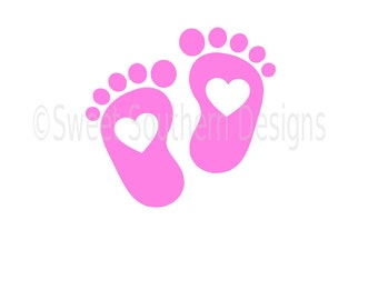 Baby feet with hearts SVG instant download design for cricut or silhouette
