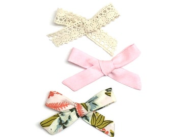 3 bows // Lace Bow // Small Bows // Baby Bow Set // Navy Bow // Baby Gift // Baby Shower // Pink Bow