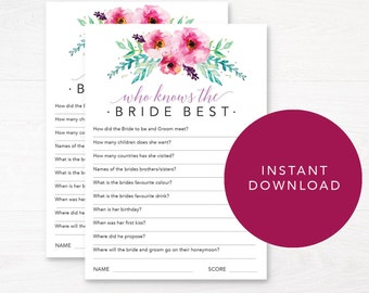 Editable Bridal Shower Games Who Knows The Bride Best Bachelorette Party Instant