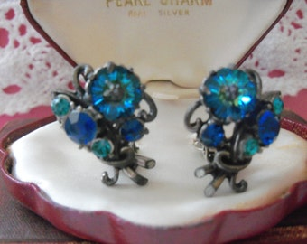 Weiss signed vintage blue and green sparkling flower clip earrings