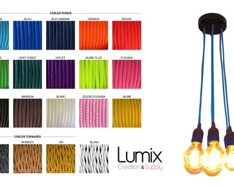 Cluster pendant light  - 7 lamps to custom - choice E27 sockets bakelite, rosace ceiling and color textile cable - Ref SUSG-07bk