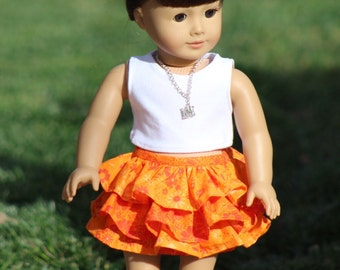 "One Only Handmade Orange Floral Tiered Skirt to Fit Like American Girl Doll Clothes, 18"" Dolls, AG Doll, Trendy, Ruffled Skirt"