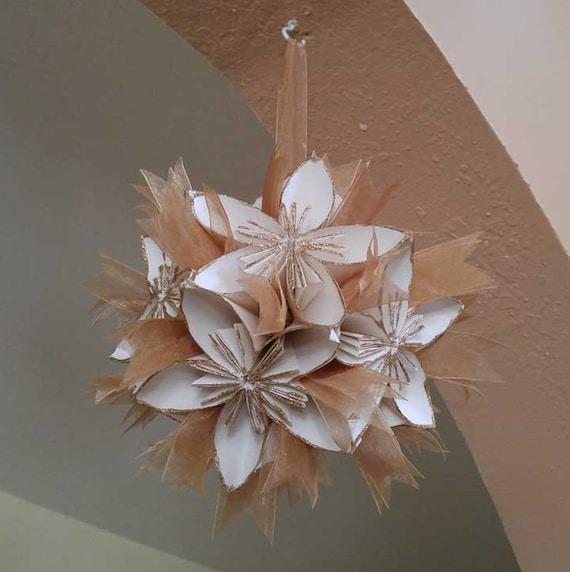 Ivory Flower Ball: Ivory Gold Origami Kusudama Paper Flower Ball Ornament Golden