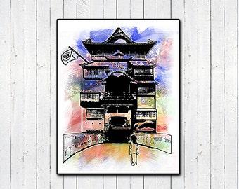 """Spirited Away 11x14"""" Print, Watercolor Prints, Hayao Miyazaki, Japanese Animation, Classic Movies, Childrens movies, Sen and Chihiro, Anime"""