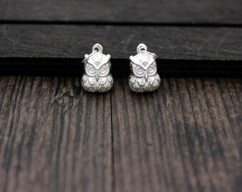 2pcs Sterling Silver Owl charm pendants with jump ring