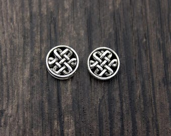 2 Sterling Silver Celtic Knot Beads,10mm Sterling Silver knot bead, knot spacer bead,silver woven bead, silver flat round bead