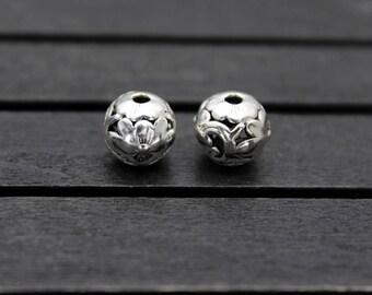 10mm Sterling Silver Flower Bead,Hollow flower bead, Flower spacer bead