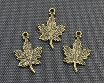 30pcs Maple Leaf Charm Antique Bronze Tone 15x23mm - BH345