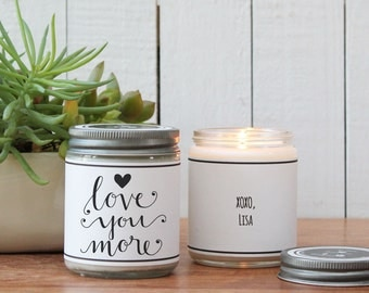 Love You More With Heart Soy Candle Gift | I Love You Gift | Valentine's Day Gift | Boyfriend Gift | Husband Gift | Valentine's Day Candle