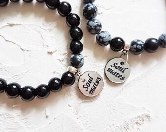 Friendship bracelet set, Relationship bracelet, Gift for friend, BFF gifts, Soul mate, Best friend bracelet, Black onyx bracelet, Set of 2