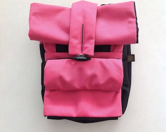 6-in-1, urban EDC bag, double-sided colored: black/pink
