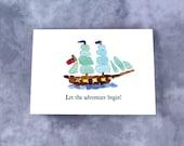 "Sea Glass Flagship ""Let the Adventure Begin!"" - Seaglass Art Mosaic Print, Brig Niagara, Great for Retirement, Goodbye, Bon Voyage"