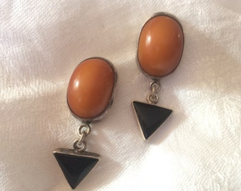 Amber and Sterling Drop Earrings, Contemporary Artisan, Pierced Backs