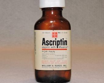 Vintage Ascriptin Pain Reliever Medicine Bottle