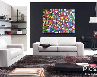 PRISM REFLECTIONS / Original Hand Painted Abstract Art By Tracey Harvey