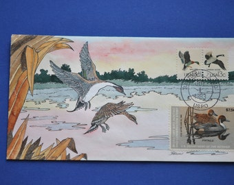 Mallard/ Canada Goose  Stamps on Lois Hamilton Hand Painted FDC Envelope  1983