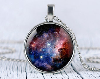 Galaxy necklace, Carina Nebula pendant Space necklace Universe jewelry p44
