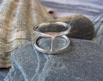 Silver Chunky Ring Bar Ring