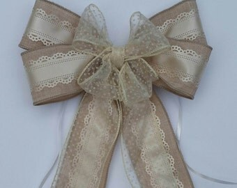 Wedding Bow  Wedding Pew Bow   Rustic Wedding  Chair Bow  Wreath Bow  Aisle Decoration   Lace Bow