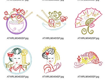 Outline-Oriental  ( 10 Machine Embroidery Designs from ATW ) XYZ17B