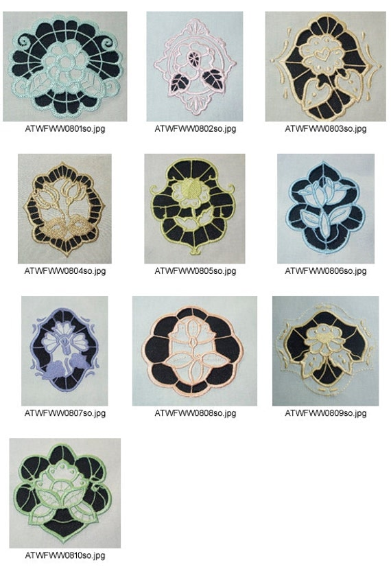 Cutwork flowers and ornaments 10 machine embroidery for Glass cut work designs