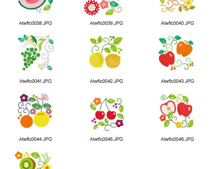 Jacobean-Fruits. ( 10 Machine Embroidery Designs from ATW )
