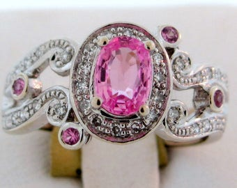 Delicious Light Pink Sapphire & Diamond Ring 14K White Gold Signed MBV Size 8.25