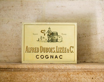 Original French Vintage Metal Advertising Sign - Cognac Dubois-Lizée - Plaque Vintage Shabby Chic French Art Decor