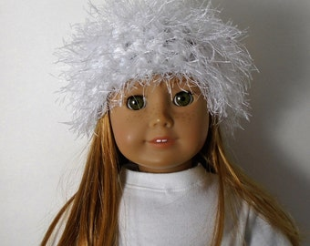 """18"""" Doll Clothes fit American Girl Crocheted Wild & Crazy Fun Fur Hat PURELY WHITE"""