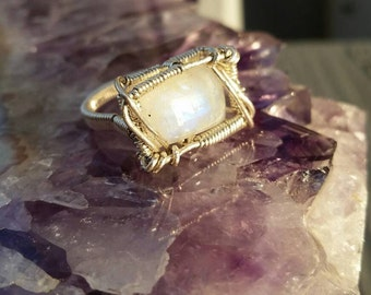 Moonstone in Sterling Silver Wire Wrapped Ring size 5