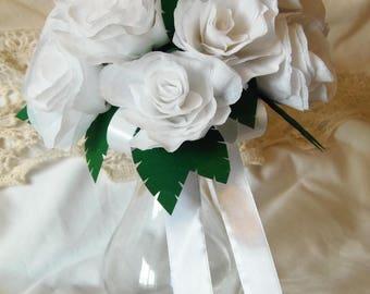 White Crepe Paper Bouquet with Jewel Green Leaves, Bridal Bouquet, Simple White Rose Bouquet, Bride, Bridesmaid
