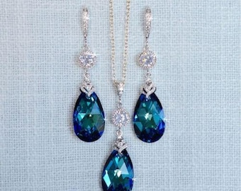 Handmade Swarovski Crystal Bermuda Blue Dangle Necklace & Earrings Set, Bridal, Wedding (Sparkle-2691)