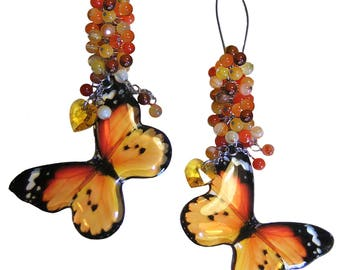 """The Butterfly Collection 2017 - """"African Monarch"""" Orange Butterfly Crystal Cluster Swarovski Heart Earrings"""