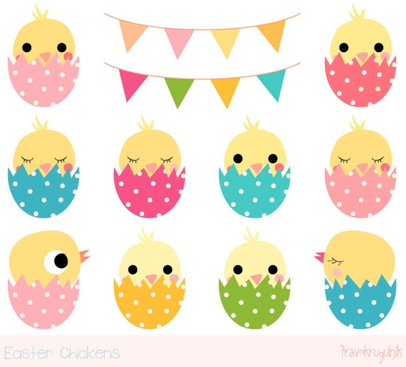 Easter chick clipart Cute chicken clipart Kawaii chicken