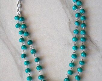 Teal Bead Double Stranded Necklace