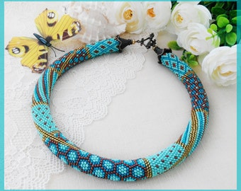 Woman beaded necklace Mint chunky necklace Patchwork jewelry Mint blue necklace Beautiful trendy jewelry Women day gift Blue girl jewelry