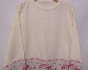 Vintage Cream/Pink Floral Jumper