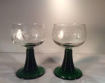 "Luminarc Roemer Green Stem Glasses, Large 5 3/8"" tall"