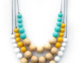 EFFORTLESSLY CHIC COLLECTION - Silicone Wood Necklace | 50 colours | Layer Up | Build your Own | You Choose Colours | Cool Urban Fashion