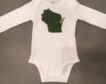 Wisconsin Bodysuit, Made in Green Bay, Wisconsin Baby Gift, Green Bay Baby Gift, Wisconsin Pride Bodysuit