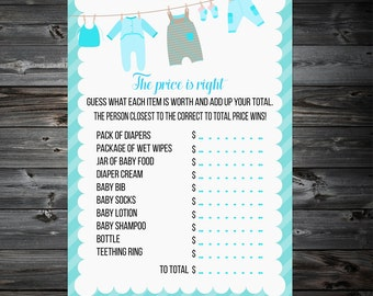 Baby Price Is Right Printable Game,The Price is right Baby Shower Game Printable,Baby Shower Games,Printable Baby Shower Game.