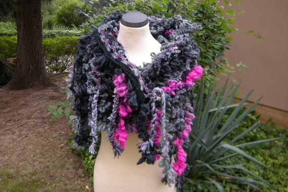 "Poncho shawl ""LooPo"" crochet scarf vest poncho loop LooPo black grey-pink"