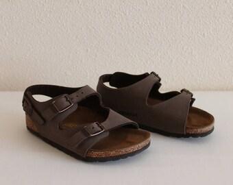 Kids Birkenstock Children Birkenstock Brown Sandals Summer Shoes Platform Slides Two Strap Sandals Size 27