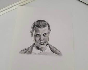 Original portrait drawing of 11 eleven elf waffle stranger things art handmade artwork millie bobby brown