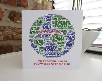 "Personalised ""Best in the World"" Card, Personalised Father's Day Card, Card for Dad/Brother/Uncle/husband"