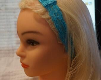 Aqua Stretch Lace Womens or Girls Elastic Headband, Yoga Headband, Fold-Over 1 Inch Elastic, No Slip,  Stretchy Headband, No Crease Headband