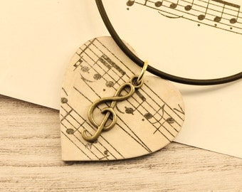 Vintage music necklace, decoupage pendant, decoupage necklace, gift for music lover, music lover gift, music lover necklace